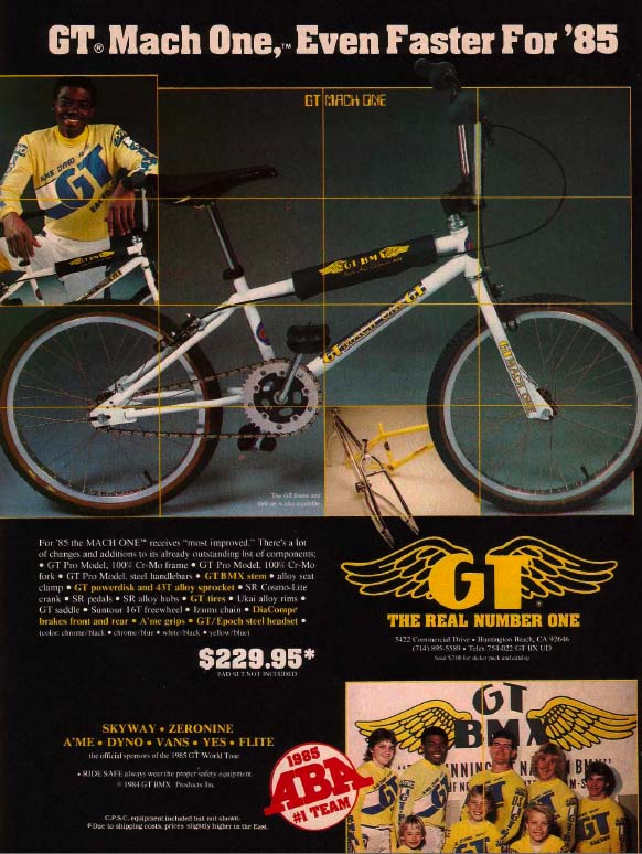 1985 GT BMX Mach One fork decals