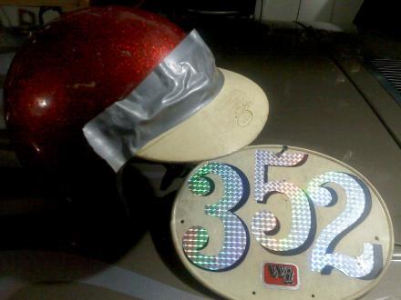 Steves helmet and number plate.jpg